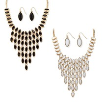 PalmBeach Jewelry Simulated Crystal Gold Tone 3-Piece Necklace Earrings Set - $31.99