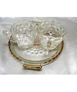3823 Antique Jeannette Crystal Cubist Creamer, Sugar and Tray - $16.00