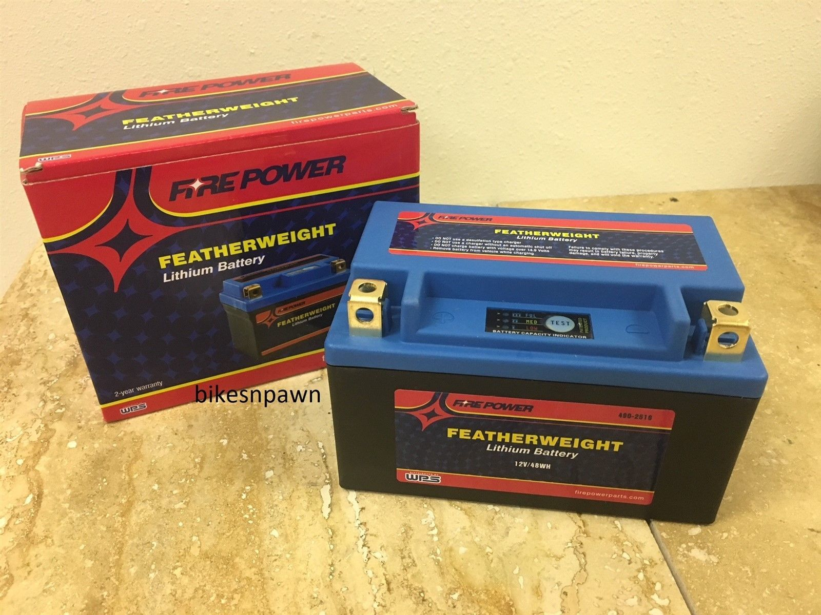 WPS Fire Power Featherweight Lithium Ion Motorcycle Battery 12N7A-4B / YB7B-B