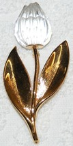 RETIRED SWAROVSKI SWAN SIGNED GOLD PLATED CLEAR CRYSTAL TULIP BROOCH PIN... - $229.99