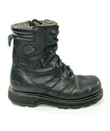Harley Davidson Jay Mens 8 Riding Boot Black Leather Zip Motorcycle Boot... - $73.39
