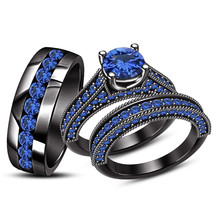 Black Gold Over Round Blue Sapphire Engagement Ring Wedding Band Bridal Trio Set - £110.48 GBP