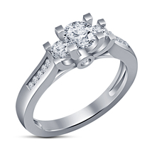 Round Cut CZ Three Stone Wedding Ring 14k White Gold Plated 925 Sterling Silver - $62.85