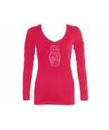 Russian nesting doll Babushka Matryoshka pink women slim fitted sleeved ... - $13.99