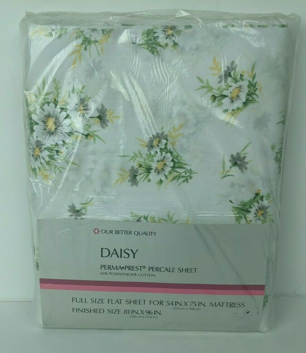 Primary image for Vintage NOS Sears Daisy Percale Perma Prest Full Double Flat Sheet