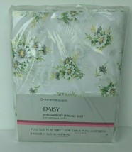 Vintage NOS Sears Daisy Percale Perma Prest Full Double Flat Sheet  - $18.81