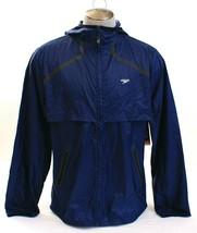 Speedo Navy Blue Zip Front Light Weight Woven Hooded Fitness Jacket Men'... - $59.24
