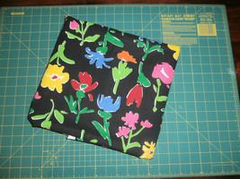"2 Yds Black Flowers Leon Rosenblatt Fabric Traditions Cotton Canvas 60"" - $12.59"