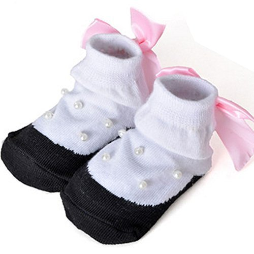 Baby Socks Lovely Cotton Summer Infant Socks 0-12 Months(White With Beads)