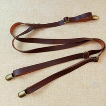 Vintage Leder Hosenträger Retro britische Hosengurte 3 Clips Männer... - $8.48