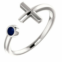 Blue Sapphire Negative Space Cross Ring In Platinum - $545.10