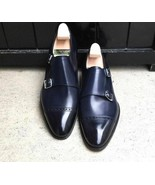 Navy Blue Monk Double Buckle Strap Burnished Cap Toe Real Leather Shoes US 7-16 - $139.99 - $239.99