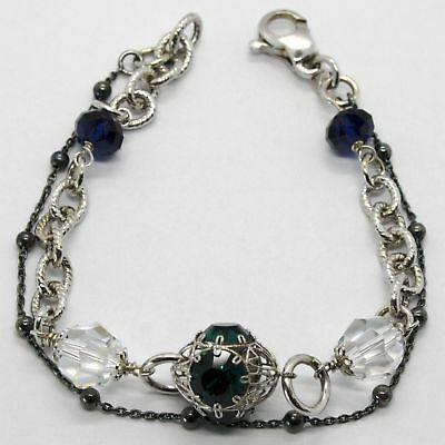 Armband 925 Silber Rhodium und Brüniert mit Kristallen Bunt Made in Italy