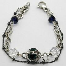 Armband 925 Silber Rhodium und Brüniert mit Kristallen Bunt Made in Italy - $100.10