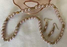 Necklace and Earring Set with Peach Glass Pearls, Light Colorado/Taupe S... - $18.00