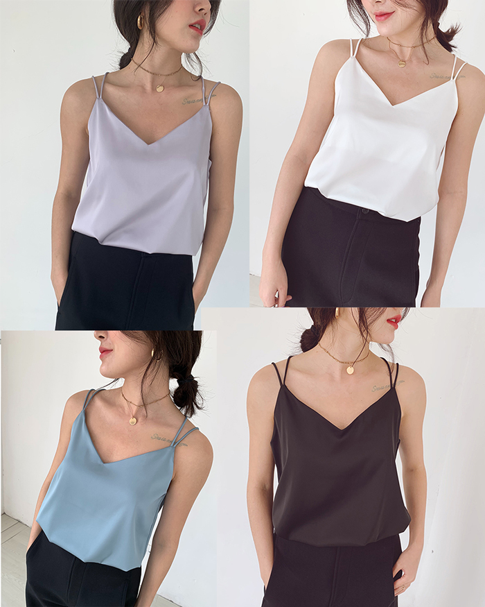 V neck sleeveless chiffon top double shoulder 1