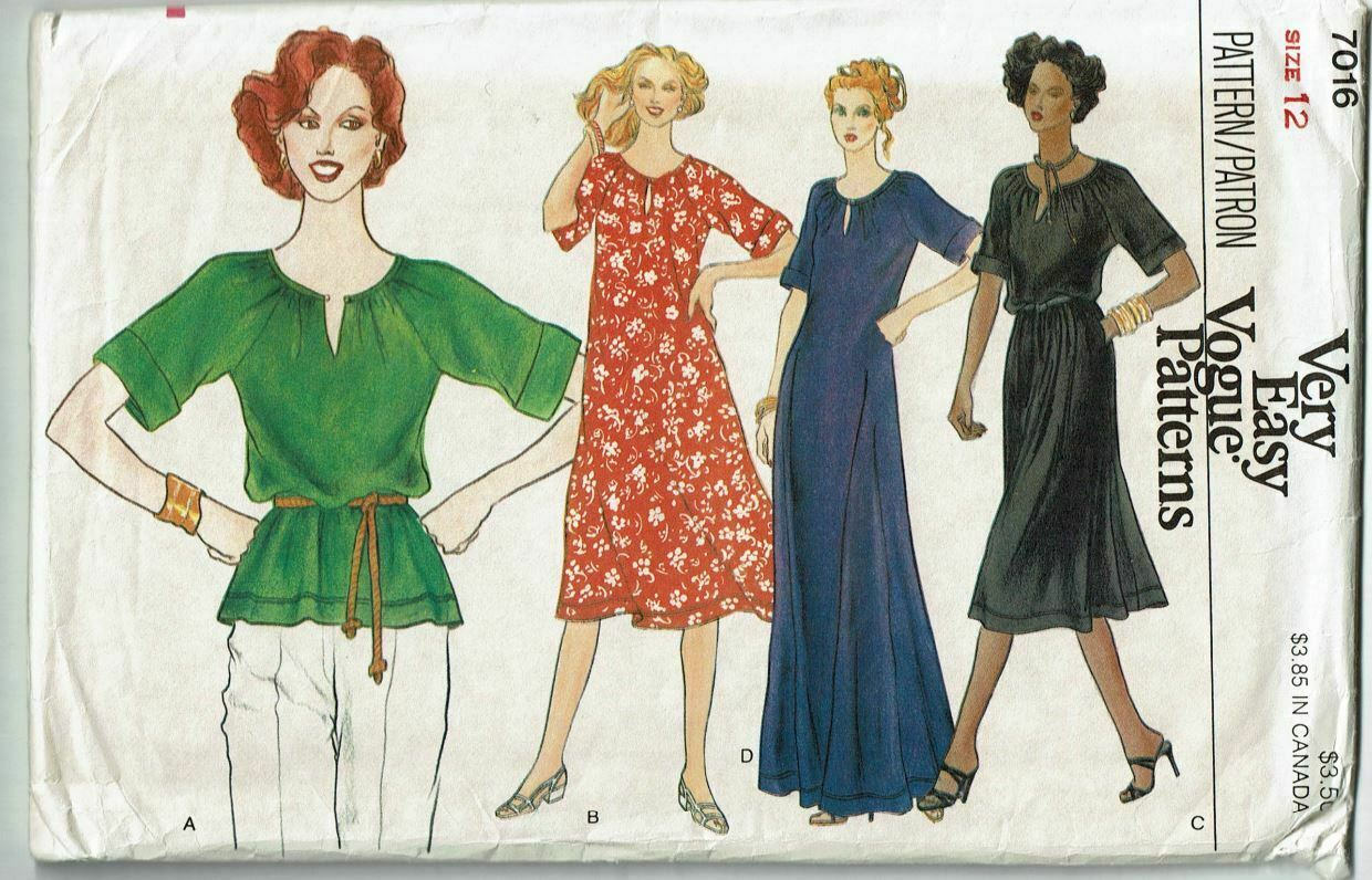 Primary image for Vogue 7016 Sewing Pattern Misses Dress Top Size 12 UNCUT VTG