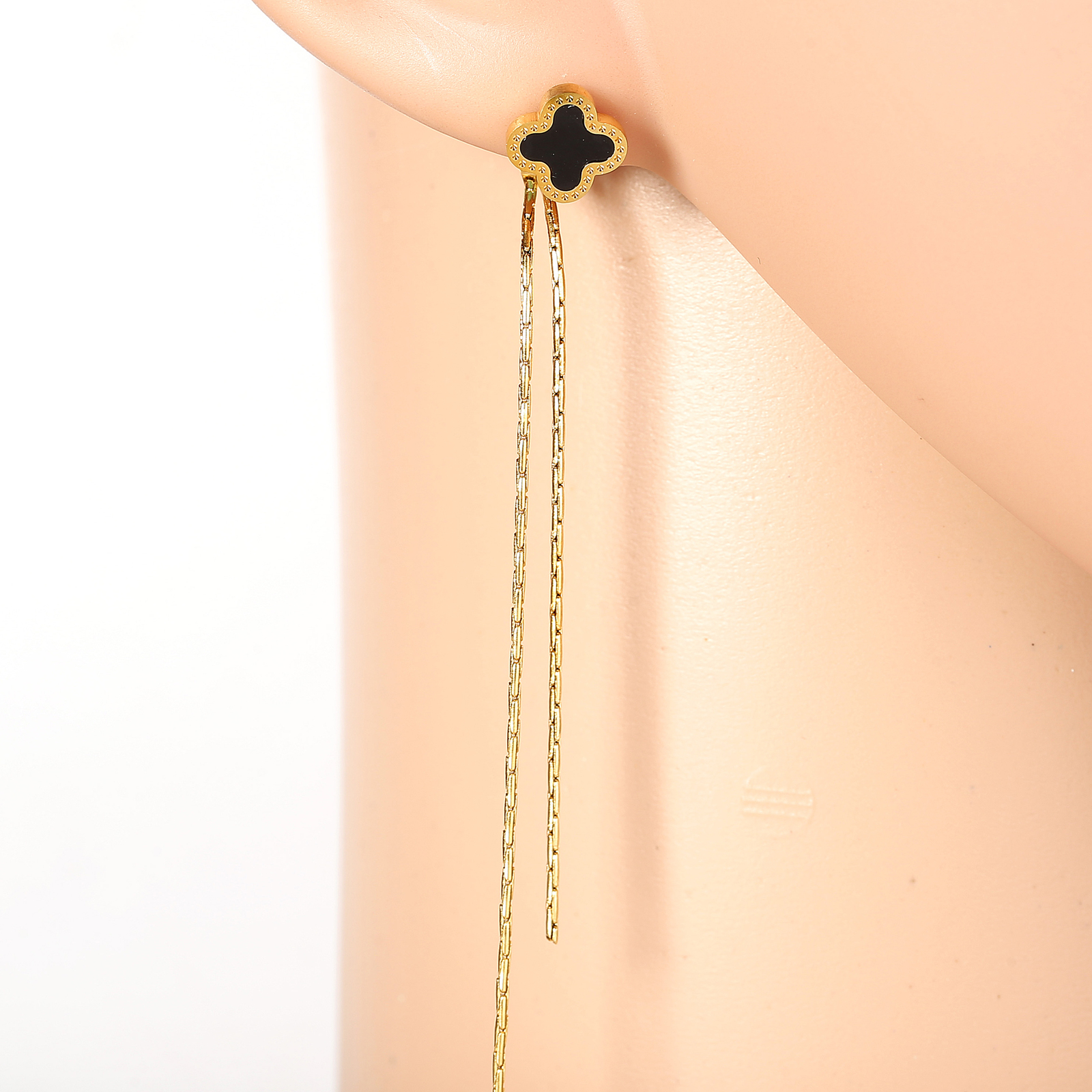 Primary image for Chic Gold Tone Designer Drop Earrings, Jet Black Faux Onyx Clover & Tassels
