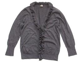 J Crew Katelyn Ruffle Cardigan Women Sweater Medium Pima Cotton Wool Gray - $35.97 CAD
