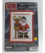 "2000 JANLYNN Cross Stitch Sealed Kit - #41-112 SANTA and REINDEER 5"" x 7"" - $9.90"