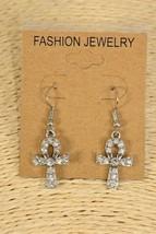 Egyptian Ankh Rhinestone Dangle Earrings - $5.94