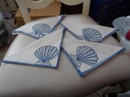Set of 4 white napkin with blue seashell an edge design - $10.50