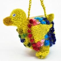 Handknit Alpaca Wool Whimsical Hanging Duck Bird Ornament Handmade in Peru image 2