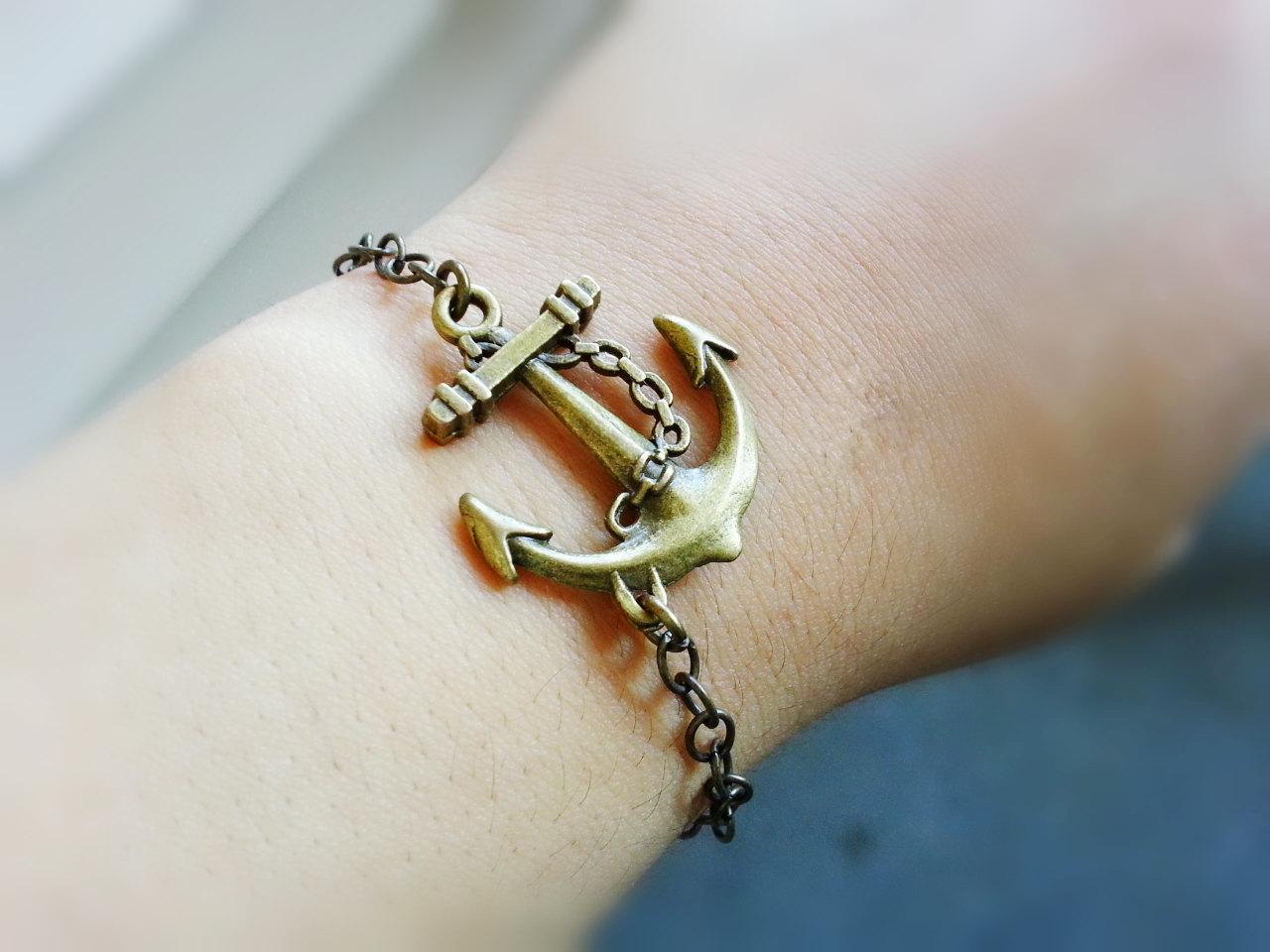 Antique Brass Anchor Bracelet Sideways Anchor Bracelet Nautical Jewelry Anchor C