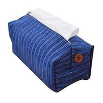 Panda Superstore Blue Stripe Hand Woven Fabric Storage Box Tissue Holder