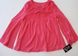 Art Class Girls Coral Lace Overlay Long Sleeve Flowing Shirt Sz XS 4/5 NWT Rayon - $7.69