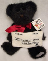 "Boyds Razz Bearies N.S.F. BLACK TEDDY BEAR W/ CHECK 8"" Plush STUFFED ANI... - $18.32"