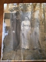 vintage 11x14 1940's black and white photo couple with navy officer badl... - $28.04
