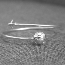 Silver Plane and Globe Ring image 1