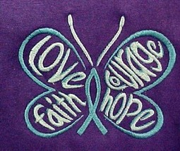 Ovarian Cancer T Shirt M Teal Hope Courage Butterfly S/S Purple 50/50 New - $19.57