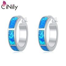 Ocean Blue Fire Opal Stone Round Circles Earrings Silver Plated Earring ... - $14.77