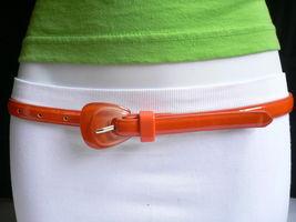 Nuevo Moda Mujer Correa Trendy Skinny Naranja Brillante Delgado Imitación Cuero image 10