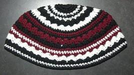 Frik Kippah Skullcap Yarmulke Crochet Burgundy Black Striped Israel 21 cm Judaic
