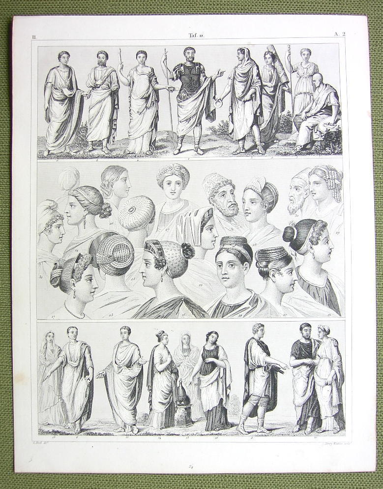 Primary image for ROME Roman Fashion Dresses Toga Women Headgear - 1844 SUPERB Engraving Print