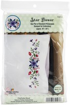 "Tobin Stamped For Embroidery Pillowcase Pair 20""X30""-Star Flower - $14.82"