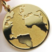 Yellow Gold Pendant 750 18K, Globe Flat, Satin, 16 mm, Italy Made image 2