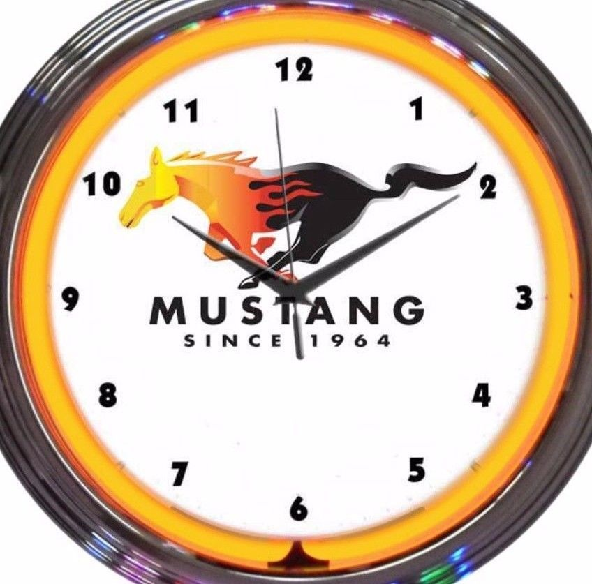 Ford Mustang Car Emblem Logo Auto Neon Clock 15 Inch Diameter Yellow
