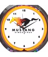 Ford Mustang Car Emblem Logo Auto Neon Clock 15 Inch Diameter Yellow - $58.40