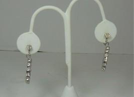 Vintage Silver Tone & Rhinestone Dangle Circle Screw Back Earrings - $10.88