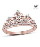 18k Rose Gold Plated 925 Silver Round Cut CZ Disney Princess Crown Women... - £38.82 GBP