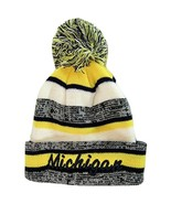Michigan 4-Color Embroidered Adult Size Winter Knit Pom Beanie Hat (Navy... - $13.98