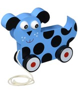 Toddler Toys, Wooden Wonders Dalmatian Puppy Push Pull Toy, Blue - $19.99