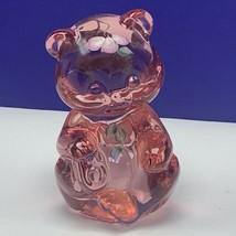 Fenton glass teddy bear figurine birthday stone sculpture Empress rose s... - $96.55