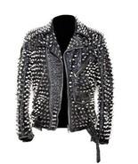 Mens Silver Studded Leather JACKET Biker Long Spike Brando Party Belted ... - $299.99