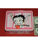 """2005 King Features 7.5"""" X 6"""" X 3"""" Embossed Betty Boop Tin Metal Lunch Box - $19.78"""