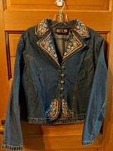 Gordon & James Denim Jacket size L Large Western Blue Orange Floral - $24.98